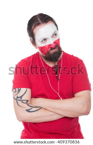 male polish soccer fan is  looking sad, isolated on white - stock photo