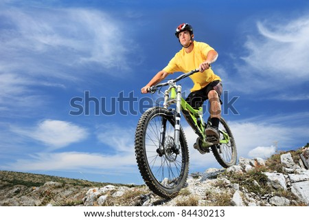 Male riding a mountain bike outdoor