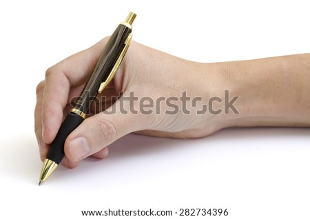 Male right hand holding a shiny surfaced chrome ballpoint pen in a writing position. Pen has dark rubber grip, shiny brown and golden parts. Hand can be seen well above wrist. White background.