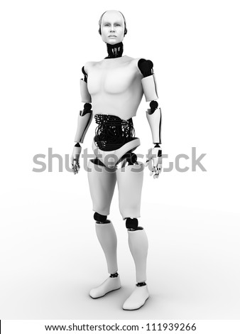 Male robot standing. White background. - stock photo
