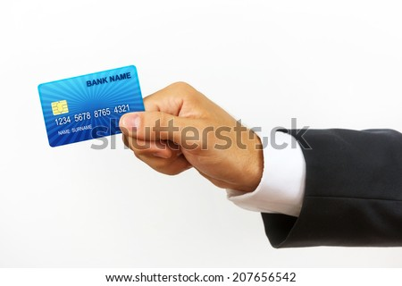Male`s hand holding internet credit card, isolated on white background.