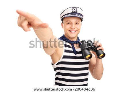 Male sailor holding binoculars and pointing with his hand isolated on white background - stock photo