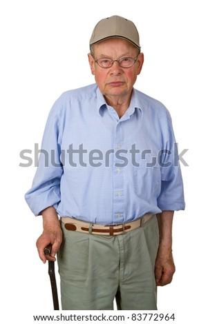 Male senior with walking stick isolated on white background. - stock photo