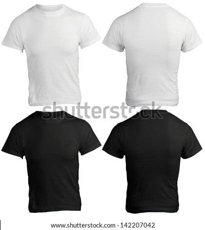 male shirt template, black and white, front and back design - stock photo