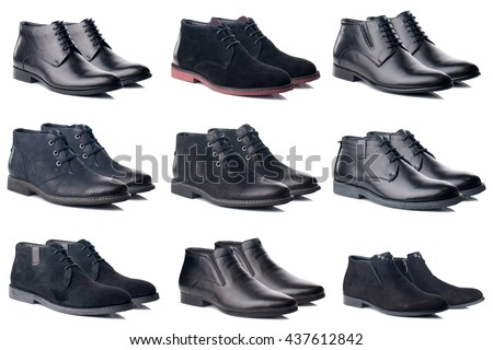 Male shoes collection on white background.Side view. - stock photo