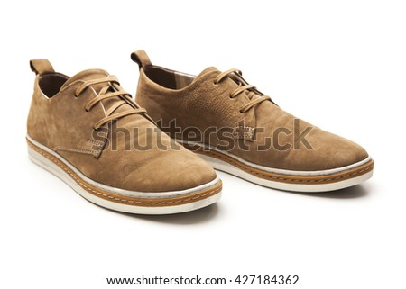Male shoes over white - stock photo
