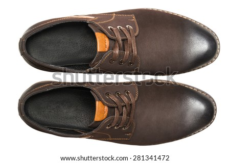 Male shoes. top view - stock photo