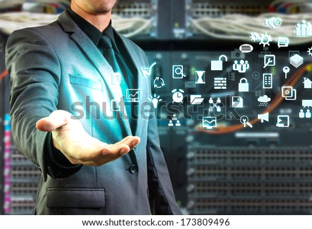 male showing floating glow icon - stock photo