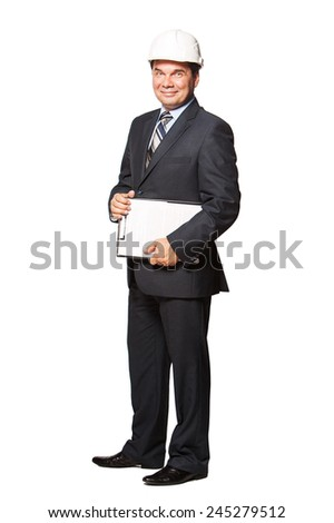 Male smiling architect in hardhat isolated on white background.