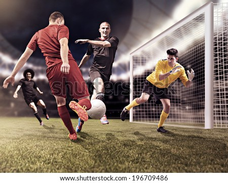 male soccer or football  player on the field