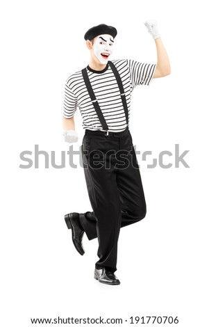 Male street performer dancing isolated on white background - stock photo