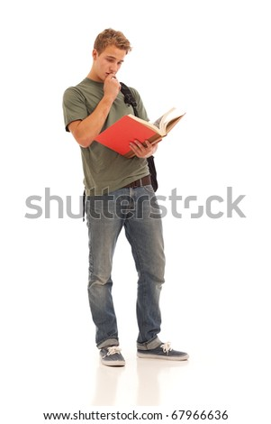 Male student reading book