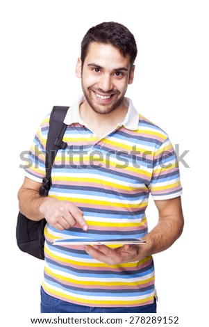 Male student with a tablet pc, isolated on white background - stock photo