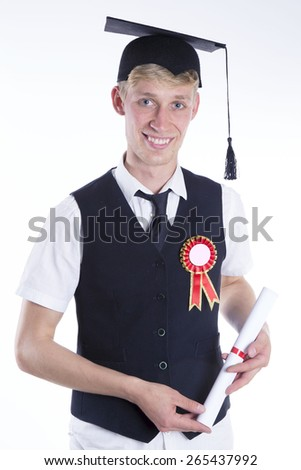 male student with diploma on white background - stock photo