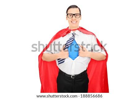 Male superhero tearing his shirt isolated on white background - stock photo