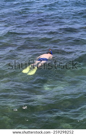 Male swimmer is swimming in the beautiful clear sea - stock photo