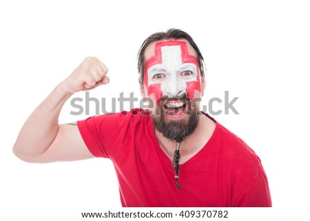male swiss soccer fan looks happy, isolated on white - stock photo