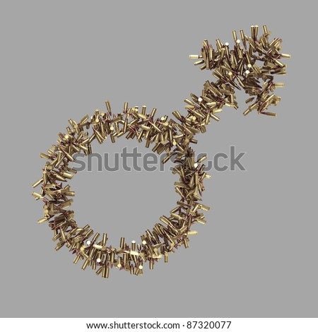 Male symbol made of bullets isolated on grey
