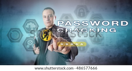 Male system administrator is pointing out PASSWORD CRACKING onscreen. Computer security metaphor and cybercrime concept for cryptographic attacks, password authentication and cracking software.