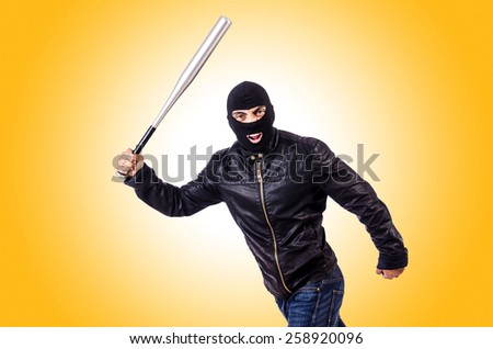 Male thug isolated on the white - stock photo