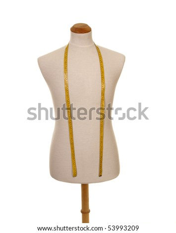 male torso mannequin with tape measure isolated - stock photo