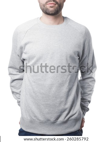 male torso wearing grey jumper template isolated on white with clipping path both for background and garment - stock photo