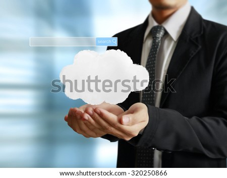 male touching virtual icon of social network - stock photo