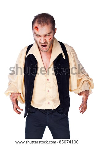 Male vampire with wounded face and hands looking angry, roaring, isolated on white