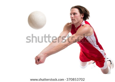 Male volleyball player. Studio shot over white. - stock photo