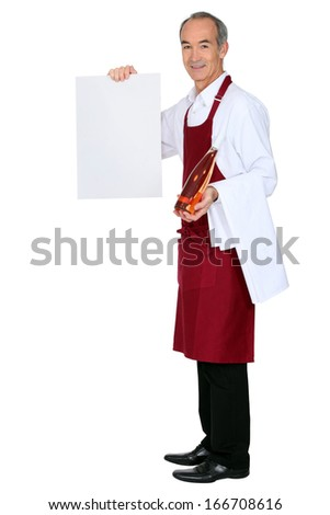 Male waiter hold message board - stock photo