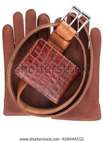 Male wallet, belt and gloves isolated on white background - stock photo