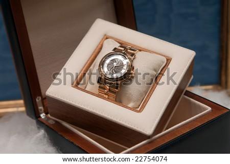 male watch on shop window - stock photo