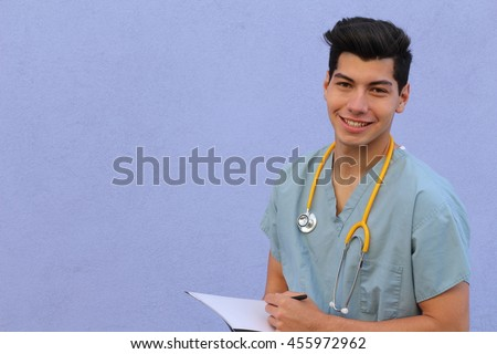 Male who is going to nursing school - stock photo