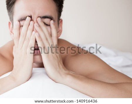 Male with lack of sleep - stock photo