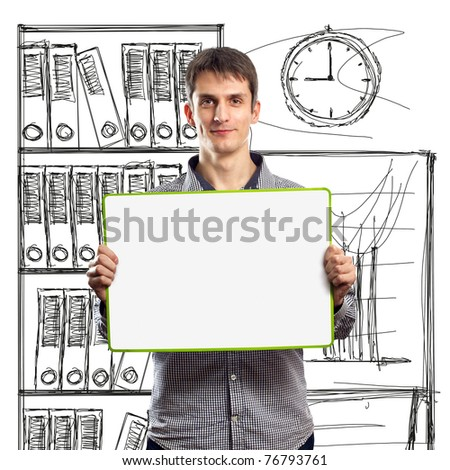 male with write board in his hands isolated against different backgrounds - stock photo