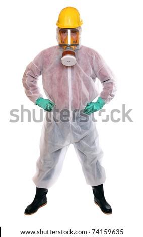 Male worker in bio-hazard suit on white background. - stock photo