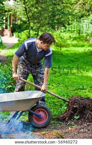 Male worker. Summer vibrant colors. - stock photo