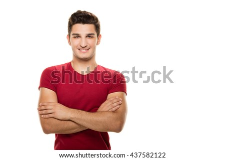 Male young man posing on white background. - stock photo