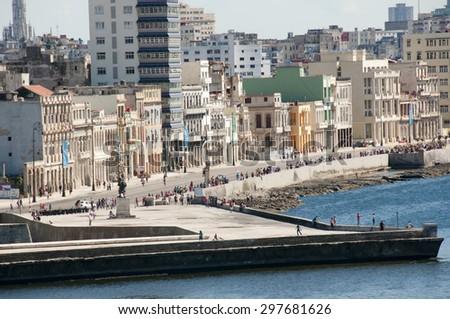 Malecon Street Buildings - Old Havana - Cuba - stock photo