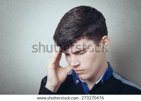 Males sore headache - stock photo
