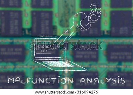 malfunction analysis: oversized wrench coming out of laptop screen