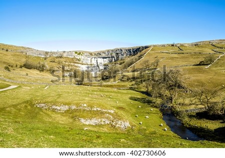Malham Beck and Cove Yorkshire England - stock photo