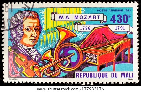 MALI - CIRCA 1981: A stamp printed by Mali, shows great composer Wolfgang Amadeus Mozarti, circa 1981 - stock photo