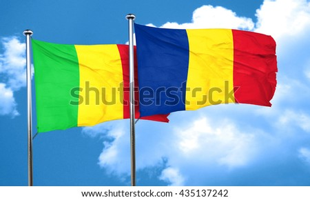 Mali flag with Romania flag, 3D rendering
