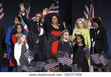 Malia Obama, US President Elect Senator Barack Obama, Michelle Obama, Sasha Obama, Jill Biden, Joe Biden at Barack Obama US Presidential Election Victory Speech, Chicago, Nov 04, 2008 - stock photo