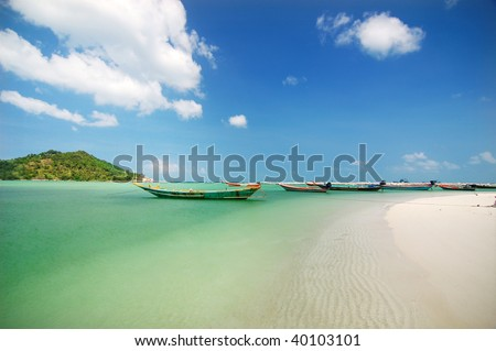 Malibu beach at Koh Phangan Island, Thailand - stock photo