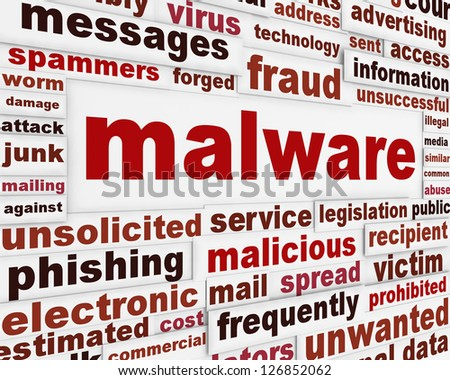 Malicious malware warning message. Spyware creative words poster design - stock photo