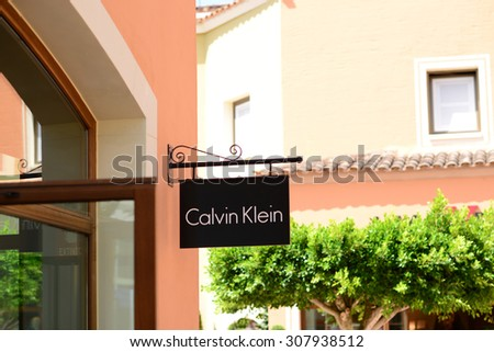 MALLORCA - JULY 31, 2015: Calvin Klein Store in Festival park outlet village in Mallorca. Calvin Klein Inc. is an American fashion house founded by the fashion designer Calvin Klein.