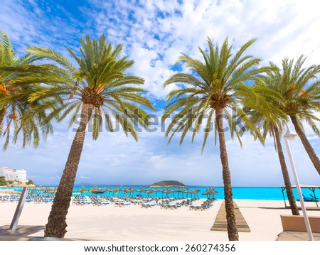 Mallorca Magaluf Magalluf beach in Calvia Mallorca at Balearic islands of Spain - stock photo