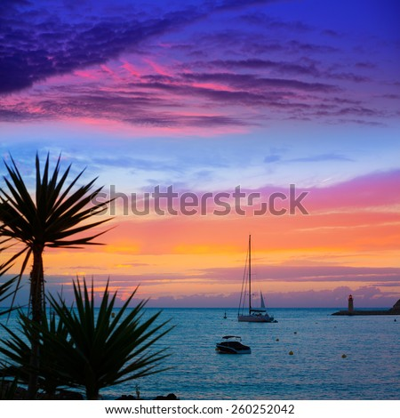 Mallorca port de Andratx sunset in Mallorca at Balearic islands of spain - stock photo